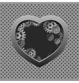 Metal heart with silver gears on the iron vector image vector image