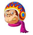 monkey wearing scarf and helmet racer vector image