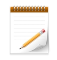 Notepad paper with pencil vector image