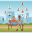 people and social media vector image vector image