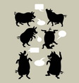 Pig Dancing Silhouettes vector image vector image
