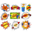 pop art set crackers petart explosions and vector image