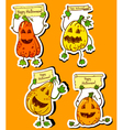 pumpkins stickers vector image vector image