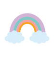 rainbow clouds season nature cartoon vector image