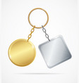 realistic 3d detailed metal keychains set vector image vector image