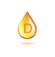 realistic glossy yellow vitamin d oil drop 3d vector image