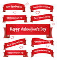 red valentine day curved ribbon banners eps10 vector image vector image