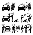 road bully driver rage stick figure pictogram vector image vector image
