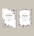 roses weddding invitation hand drawn floral vector image vector image