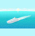 sailboat leaves trace in water marine travelling vector image vector image