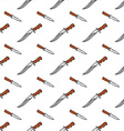 Seamless pattern with doodle combat knives Colored vector image vector image
