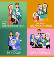 set of family portraits in vector image vector image