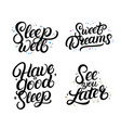 set of good nigth calligraphy quotes vector image