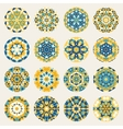 Set of Sixteen Round Blue Yellow Mandala vector image