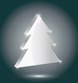 Silver fir 3 D on a gray background New Year vector image