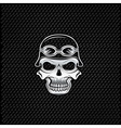 silver skull in helmet on metal background biker vector image vector image