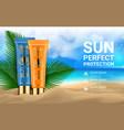 sunblock cosmetic 3d realistic packaging mockup vector image vector image
