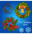 Three different Christmas wreath and snowflakes vector image