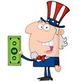 Uncle Sam With Holding A Dollar Bill vector image vector image