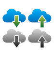 upload download icons with clouds blue green and vector image
