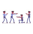 young black police officers with guns vector image vector image
