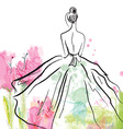 Fashion girl in beautiful dress - sketch vector image