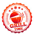 grill time label design vector image
