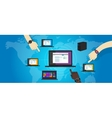 network lan local area networking laptop connect vector image
