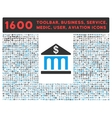 Bank Building Icon with Large Pictogram Collection vector image vector image