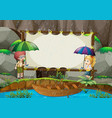 banner template with kids in the rain vector image vector image