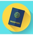blue international passport with globe vector image vector image