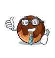 businessman chocolate donut character cartoon vector image