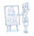 businesswoman presenting business centre vector image vector image