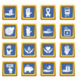 charity icons set blue vector image vector image