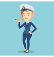 Cheerful airline pilot with model airplane vector image vector image