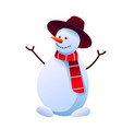 Cheerful snowman in hat and red scarf