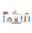china guangzhou flat landmarks vector image vector image