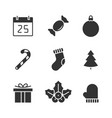 christmas black icons vector image
