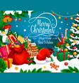 christmas greeting card xmas gift and santa hat vector image vector image