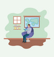 classroom with teacher reading book in the sofa vector image vector image