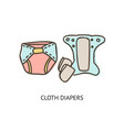 cloth diaper doodle isolated vector image vector image