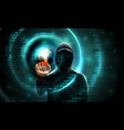 computer hacker with a hood touches touch vector image vector image