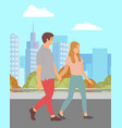 couple walking in autumn park man and woman dating vector image vector image
