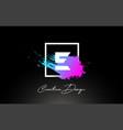 e artistic brush letter logo design in purple