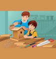 father son making a birdhouse vector image vector image