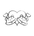 figure cute frog couple animal with hearts design vector image