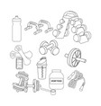 fitness equipment outline vector image vector image