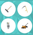 flat icon garden set of harrow lawn mower cutter vector image vector image