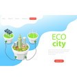 flat isometric landing page template eco vector image vector image