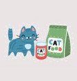 funny cat wih food vector image vector image